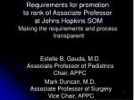 Requirements for promotion to rank of Associate Professor at Johns Hopkins SOM