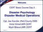Disaster Psychology Disaster Medical Operations
