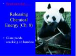 Releasing Chemical Energy (Ch. 8)