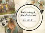 Embracing A Life of Mission