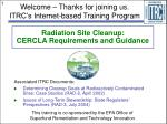 Radiation Site Cleanup: CERCLA Requirements and Guidance