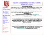 NIGERIAN ASSOCIATION OF SHOTOKAN KARATE NEWSLETTER February 2011
