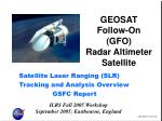 GEOSAT Follow-On (GFO) Radar Altimeter Satellite