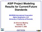 ASIP Project Modeling Results for Current/Future Standards