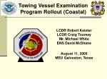 LCDR Robert Keister LCDR Craig Toomey Mr. Michael White ENS David McShane