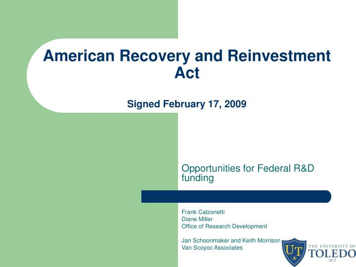 american recovery and reinvestment act signed february 17 2009 n.