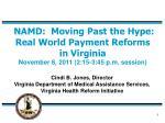 NAMD:  Moving Past the Hype:  Real World Payment Reforms in Virginia