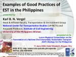 Examples of Good Practices of EST in the Philippines