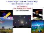 Gamma-Rays and UHE Cosmic Rays from Clusters of Galaxies