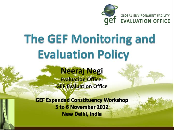 the gef monitoring and evaluation policy n.