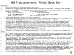 HS Announcements: Friday, Sept. 14th