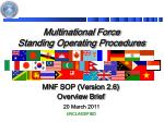 Multinational Force Standing Operating Procedures