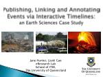 Publishing, Linking and Annotating Events via Interactive Timelines: an Earth Sciences Case Study