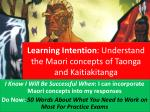 Learning Intention : Understand the Maori concepts of Taonga and Kaitiakitanga