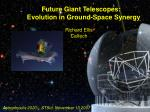 Future Giant Telescopes: Evolution in Ground-Space Synergy