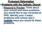 Protestant Reformation Problems with the Catholic Church