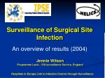 Surveillance of Surgical Site Infection An overview of results (2004)