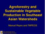 Agroforestry and Sustainable Vegetable Production in Southeast Asian Watersheds