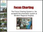 The Focus Charting System is the accepted documentation system at Windsor Regional Hospital.