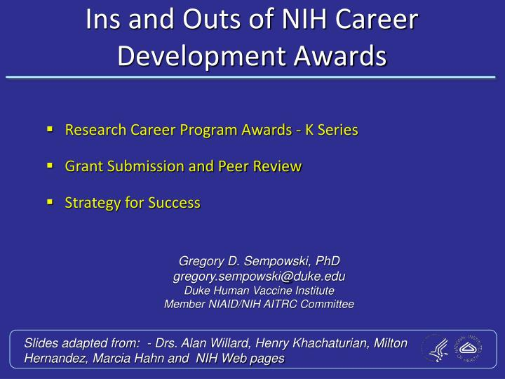 ins and outs of nih career development awards n.