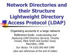 Network Directories and their Structure Lightweight Directory Access Protocol (LDAP)