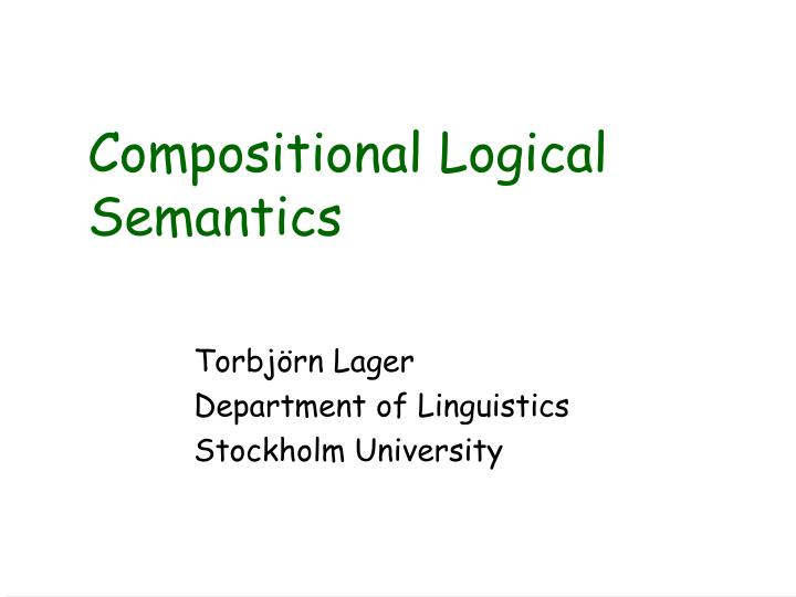 compositional logical semantics n.