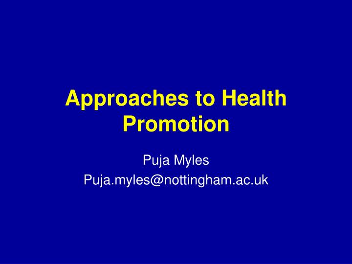 approaches to health promotion n.