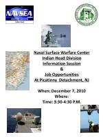 Naval Surface Warfare Center Indian Head Division Information Session & Job Opportunities