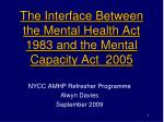 T he Interface Between the Mental Health Act 1983 and the Mental Capacity Act 2005