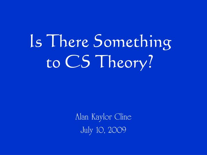 is there something to cs theory n.