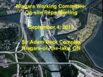 Niagara Working Committee/ On-site Reps Meeting September 4, 2013