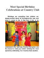 Most special birthday celebrations at Country Club