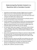 Determining the Particle Content in a Beamline with a Cerenkov Counter
