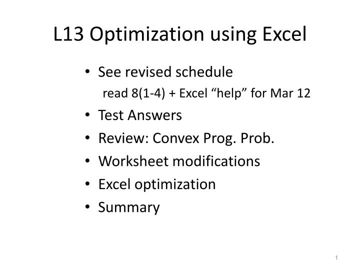 Ppt L13 Optimization Using Excel Powerpoint Presentation Id 4501268