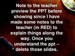 Note to teacher - continued