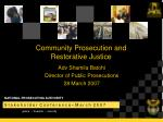 Community Prosecution and  Restorative Justice