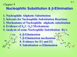 Chapter 9 Nucleophilic Substitution &  -Elimination