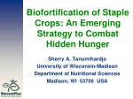 Biofortification of Staple Crops: An Emerging Strategy to Combat Hidden Hunger