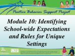 Module 10: Identifying School-wide Expectations and Rules for Unique Settings