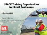 USACE Training Opportunities for Small Businesses