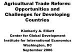 Agricultural Trade Reform:  Opportunities and Challenges for Developing Countries