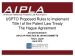 USPTO Proposed Rules to Implement  Title I of the Patent Law Treaty  The Hague Agreement