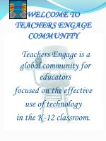 WELCOME TO TEACHERS ENGAGE COMMUNITY