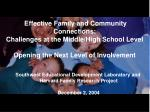 Effective Family and Community Connections:  Challenges at the Middle/High School Level