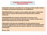 THEORIES OF INTERNATIONAL ORGANIZATIONS