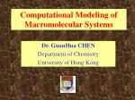 Computational Modeling of Macromolecular Systems