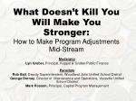What Doesn't Kill You Will Make You Stronger:  How to Make Program Adjustments Mid-Stream