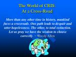 The World of CRIS: At a Cross-Road