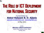 The Role of ICT Deployment for National Security
