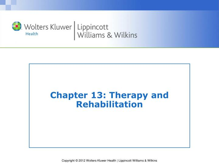 chapter 13 therapy and rehabilitation n.